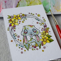 zombie easter bunny with floral wreath - original aceo