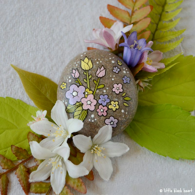 tiny tulips and blossom - pebble art