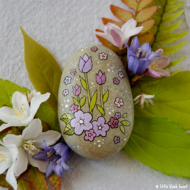 purple tulips and blossom - pebble art