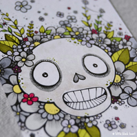 big skull bouquet - original aceo