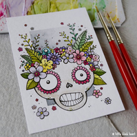 skull with a floral crown - original aceo