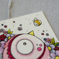 pink flowerbird and bee - original twinchie