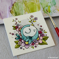 blue flowernest bird - original twinchie