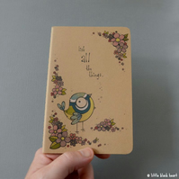 pocket notebook with original illustration - blossom and bluetit