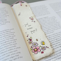 bookmark with original illustration - bees and flowers