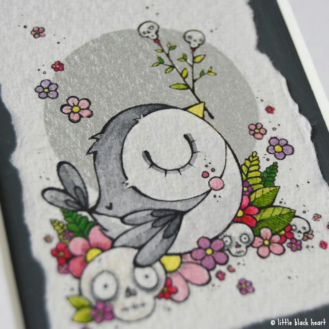 grey skullsbird - original aceo with mount