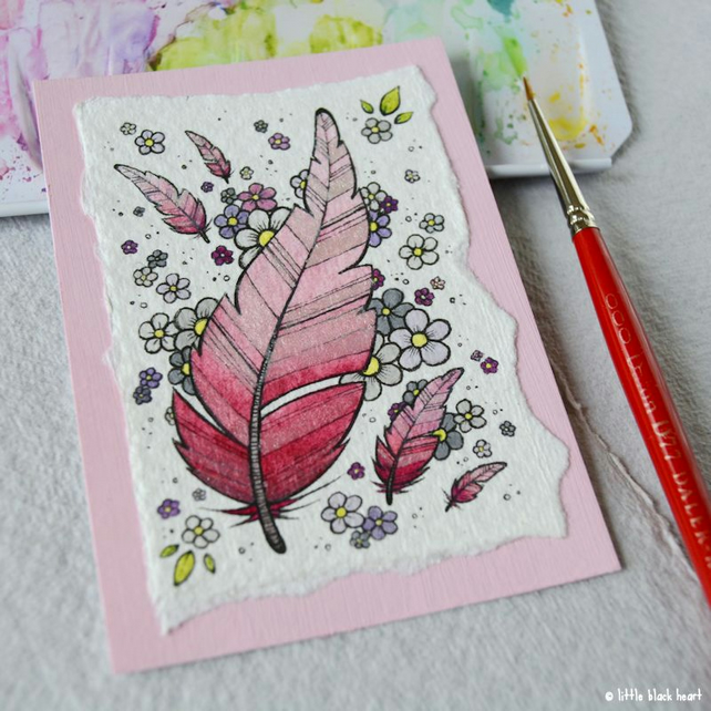 floaty pink feathers and flowers - original aceo