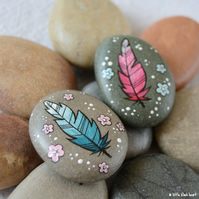 painted pebbles - feather pair
