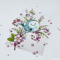 blue blossombird in branches - original illustration