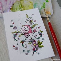 pink blossombird - original aceo