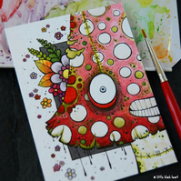 zombie toadstool king - original aceo