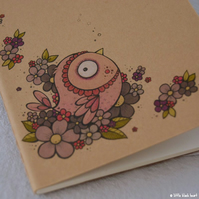 pocket notebook with original illustration - pink flowerbird