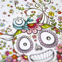 swirly summer skull and friends - original illustration (A6)