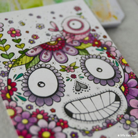 floral skull, bird and blooms- original aceo