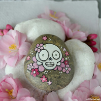 little skull and flowers - painted pebble