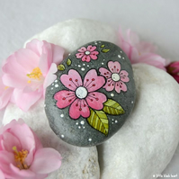 cherry blossom - painted pebble