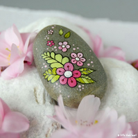 fern and flowers - painted pebble
