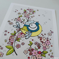 bluetit in the cherry blossom - hand coloured A4 print