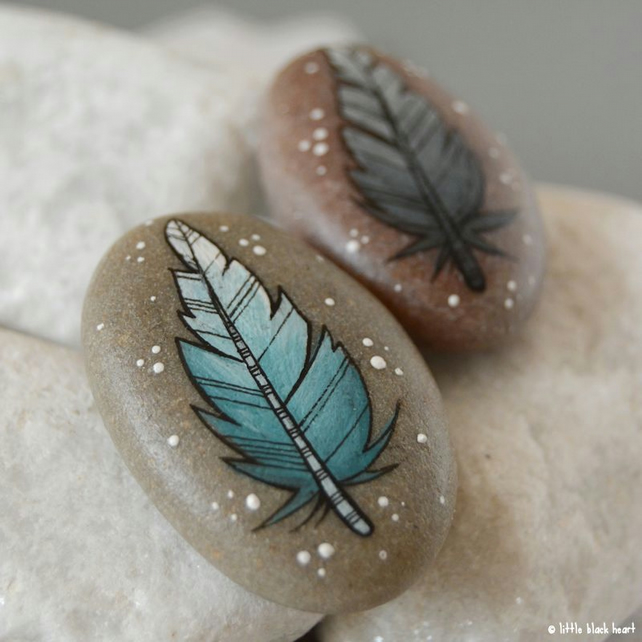 blue and grey feather pair - pebble art
