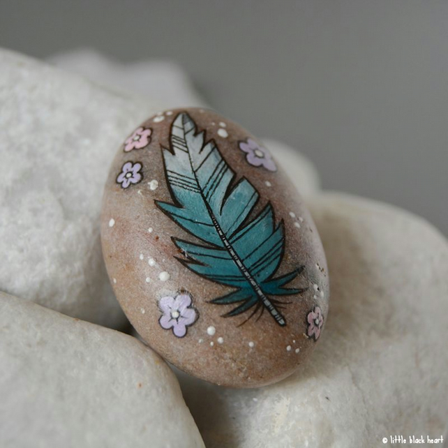little blue feather - painted pebble