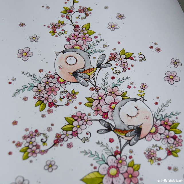 chaffinches in cherry blossom - A6 print