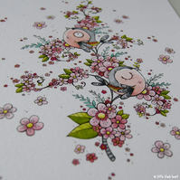 chaffinches in cherry blossom - original illustration (A4)