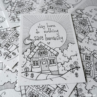 colour your own - stay home house - A6 PRINT