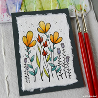 paper flowers (2) - original aceo