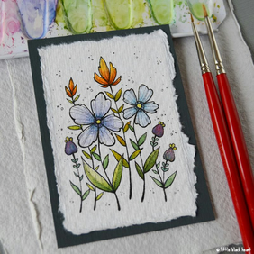paper fowers (3) - original aceo
