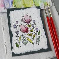 paper flowers (4) - original aceo