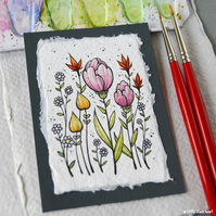paper flowers (5) - original aceo
