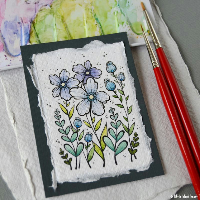 paper flowers (9) - original aceo