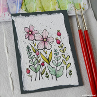 paper flowers (6) - original aceo