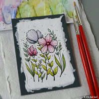 paper flowers (8) - original aceo