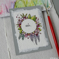 floral wreath - meh - original aceo