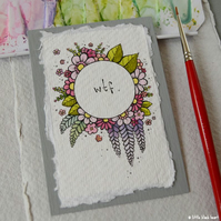 floral wreath - wtf - original aceo