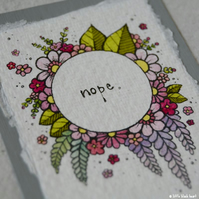 floral wreath - nope - original aceo