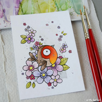 summer robin - original aceo