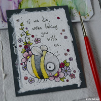 bee threat - original aceo