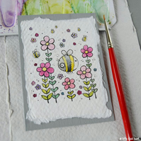 bees and blossom - original aceo