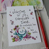 comfort zone bird - original aceo