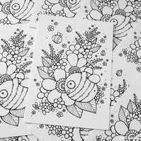 colour your own print - bee and blossom (A6)
