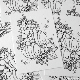 colour your own print - bee pair (A6)