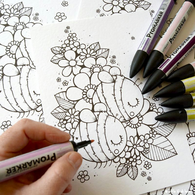 colour your own print - bee pair (A5)