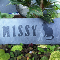Hand Carved slate Pet memorial garden plaque, marker, dog, cat, personalised