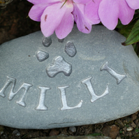 Personalised hand carved pet memorial stone, plaque, in silver, pet, dog, cat