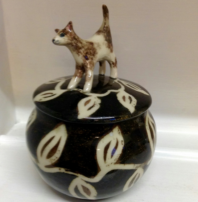 Storage jar or container for dog lovers with dog lid