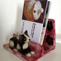 Novelty hand sculpted business card holder with little cat