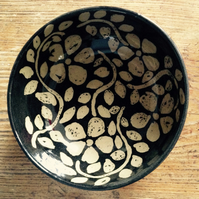 Soup or cereal bowl with brown and cream floral design