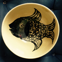 Soup or cereal bowl in stoneware clay with fish decoration and honey glaze